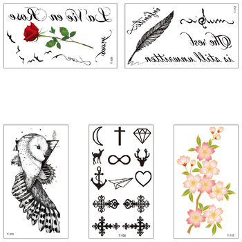 Temporary Waterproof fake tattoo water transfer Feather owl rose flower text Cross sticker boy girl beautiful body art T108-112 image