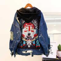 Весна 2020, винтажная джинсовая куртка с капюшоном, женская Свободная джинсовая куртка с блестками и дырками, Женская Базовая Джинсовая Куртк...