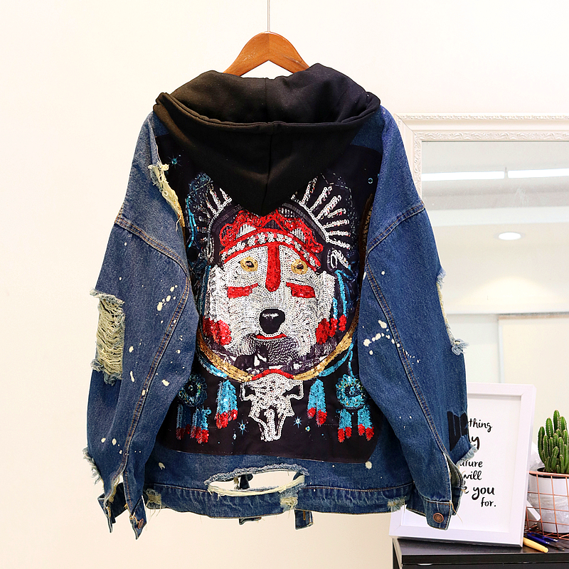 2020 Spring Vintage Hooded Jeans Jacket Womens Sequins Holes Loose Denim Coat Ladies Harajuku Basic Jean Jackets Outwear Femme