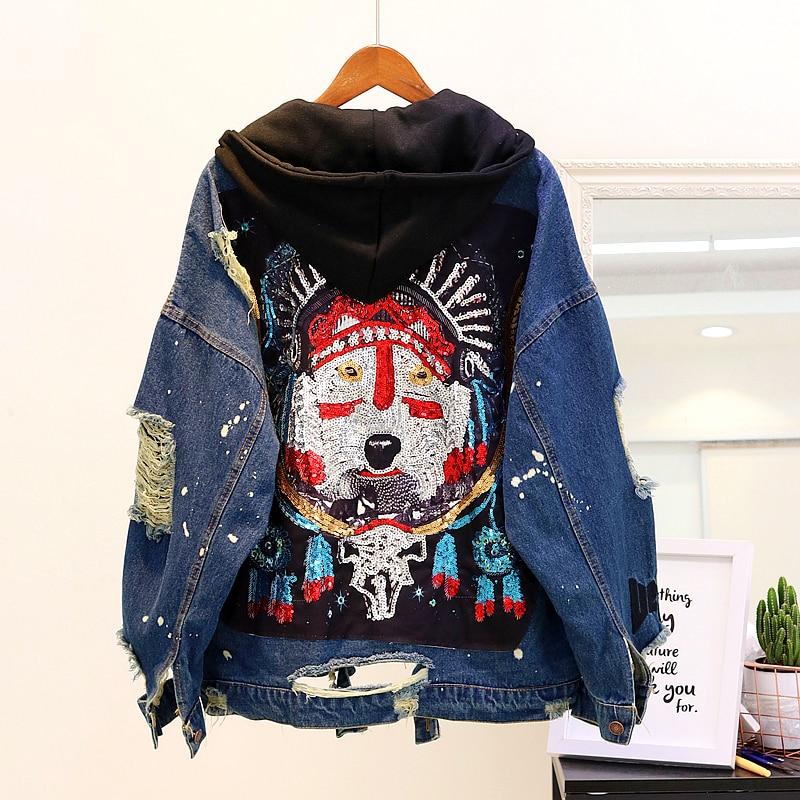 2020 Spring Vintage Hooded Jeans Jacket Womens Sequins Holes Loose Denim Coat Ladies Harajuku Basic Jean Jackets Outwear Femme