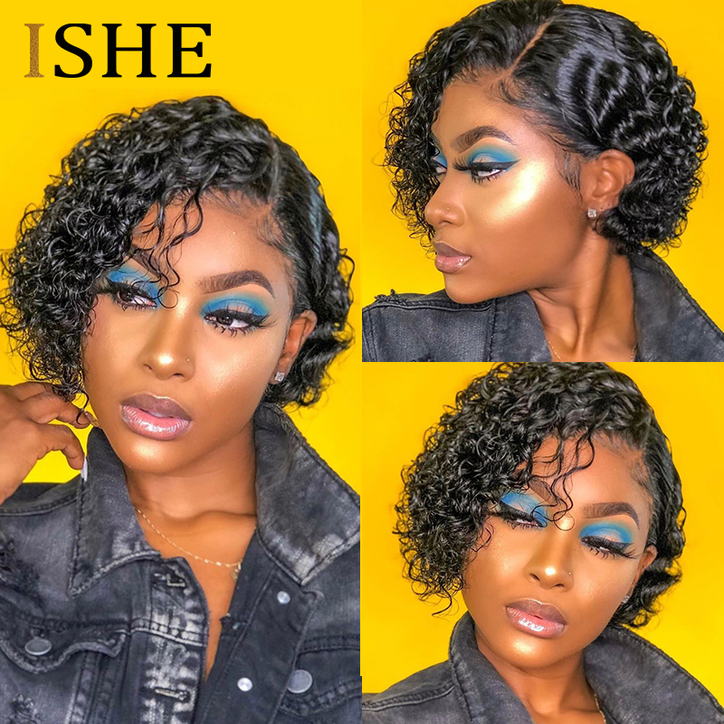 Curly Front Lace Human Hair Short Wigs Bob Wigs Remy Brazilian Hair Glueless Lace Frontal Wig For Women Natural Black Hair