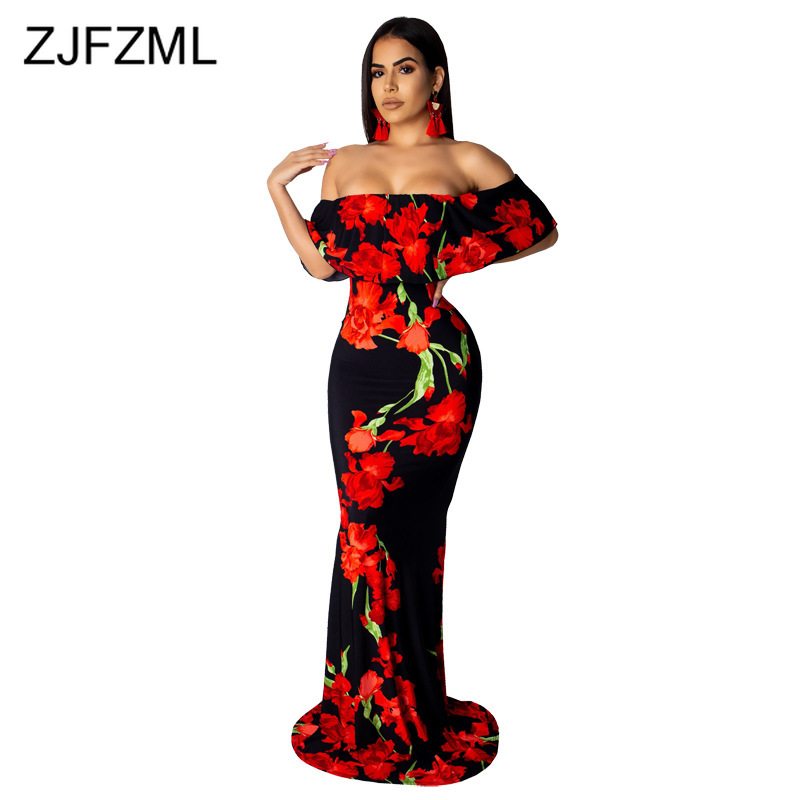Floral Print Sexy Mermaid Long Dress Women Slash Neck Ruffles Sleeve Bandage Beach Dress Summer Off Shoulder Backless Boho Dress