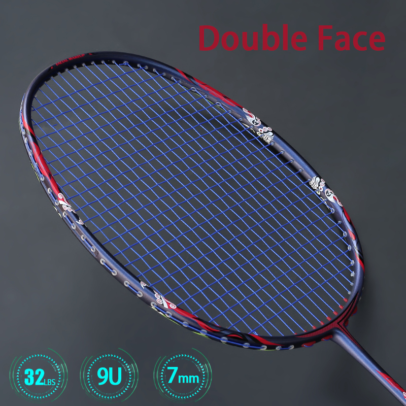 Ulralight 9U 57G Carbon Fiber Badminton Rackets With Bags Strings Professional Racquet Max Tension 32lbs G5 Padel High Speed