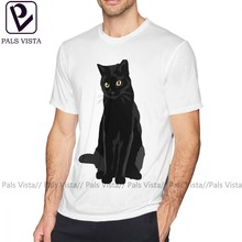 Camiseta de gato negro para hombre, Camiseta de algodón, camiseta impresionante de manga corta 6xl, Camiseta estampada de verano