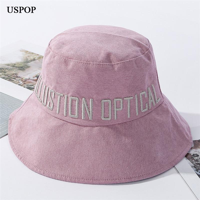 USPOP 2020 Letter Bucket Hats Women  Flat Top Cotton Hats Wide Brim Sun Hats 3d Letter Embroidery Summer Hats