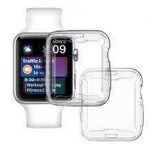 2 pçs assista capa para apple watch 38mm 40mm 42mm 44mm protetor de tela para iwatch caso série 6 5 4 3 se silicone capa