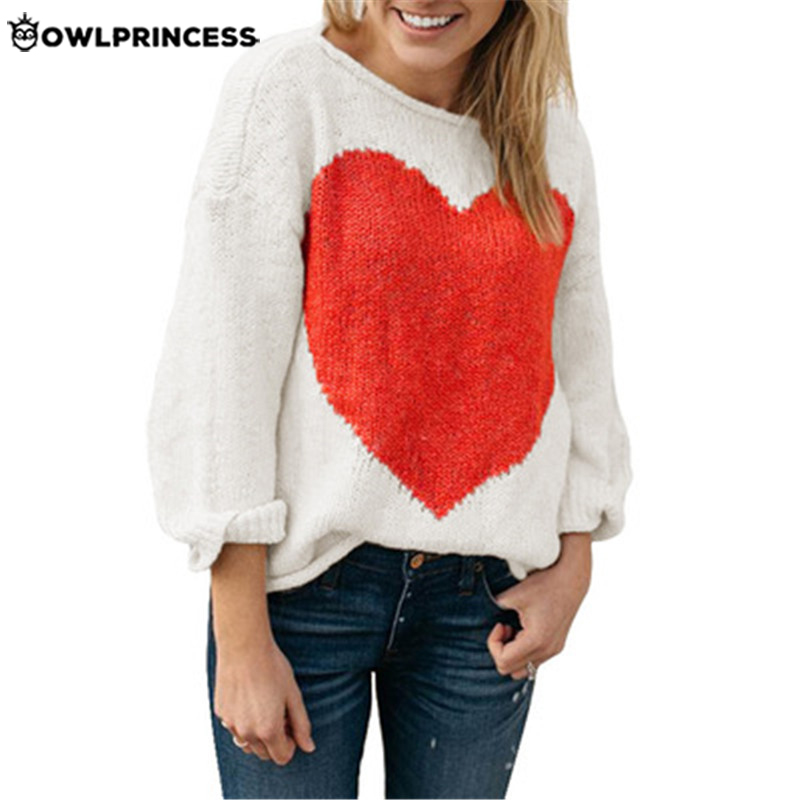 OWLPRINCESS New Fashionable Off Shoulder Knitted Sweater Long Sleeve Heart Pattern Women Sweaters Warm And Comfortable Pullover