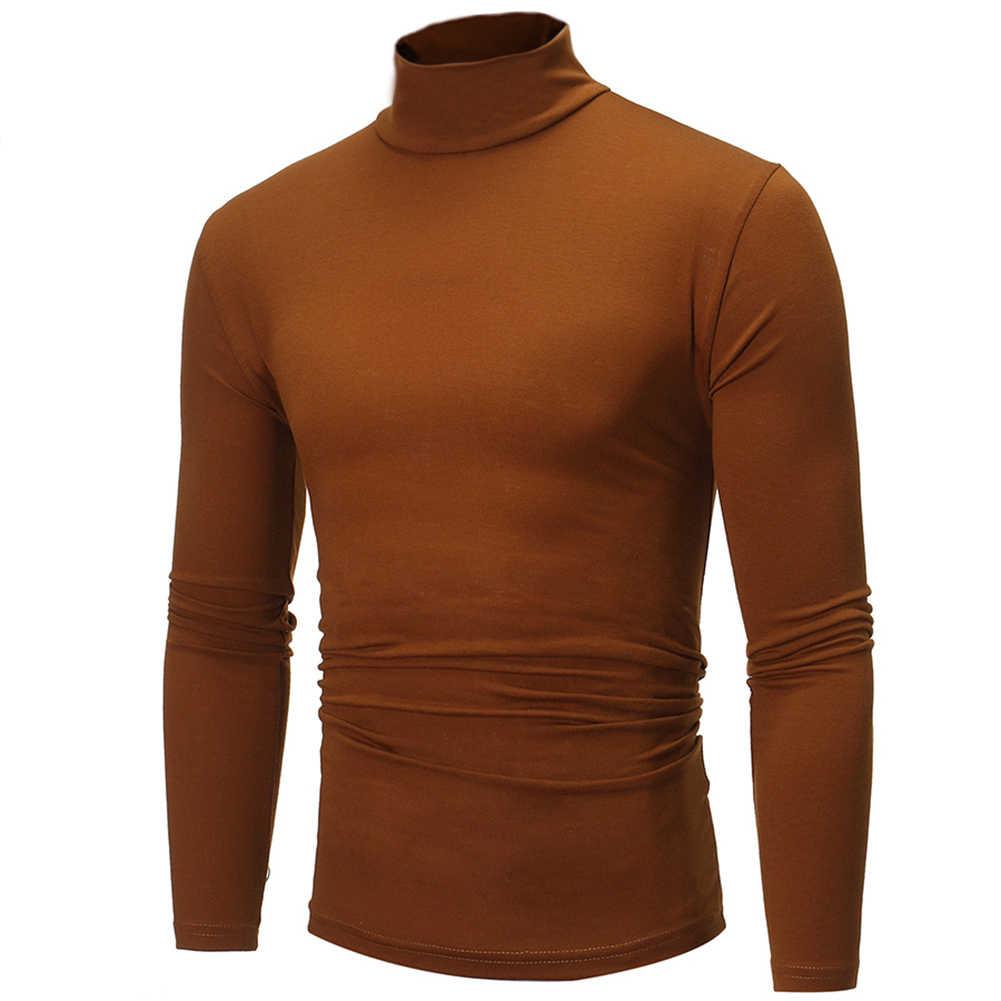 Moda masculina cor sólida manga longa camisola de pescoço de tartaruga topo de fundo