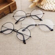 Round Plain Clear Glasses Ultra Light Metal Decoration Transparent Women Eyewear