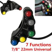 Bocina Universal para manillar de motocicleta, interruptor de señal de giro ABS, 7 botones, 22mm, 7/8