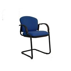 Silla confidente / sala de espera con brazos fijos incluidos  y patín color negro - Asiento y respaldo tapizados en tej