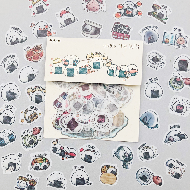 40pcs /Pack Lovely Rice Ball Sushi DIY Sticker Stick Label Notebook Album Diary Decoration
