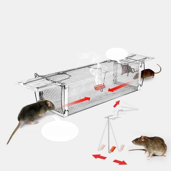 Behogar Two-door Mouse Pest Animal Mice Hamster Cage Control Repeller w/ Sensitive Trigger for House Home Farm Hotel 40x11x14cm 4