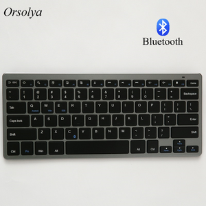 Russian/Spanish/Arabic/English Bluetooth Wireless keyboard for Tablet/Laptop/Smartphone,Support IOS/Windows/Android Silver/Grey(China)