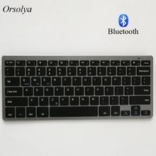 Teclado sem fio russo/espanhol/árabe/inglês bluetooth para tablet/laptop/smartphone, suporte ios/windows/android prateado/cinza