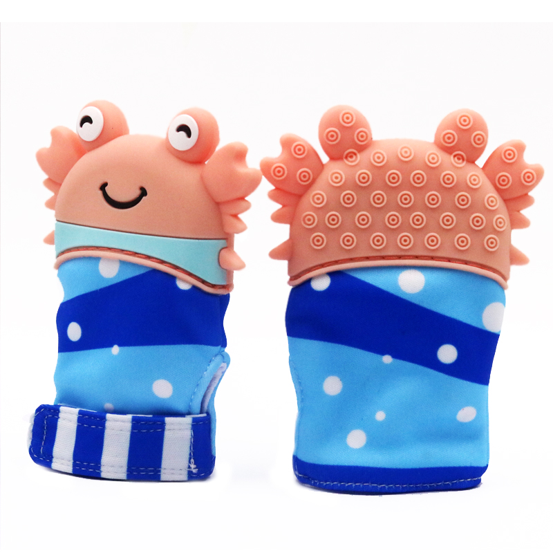 Baby Silicone Mitt Dinosaur Teething Mitten Teething Glove Candy Wrapper Teether