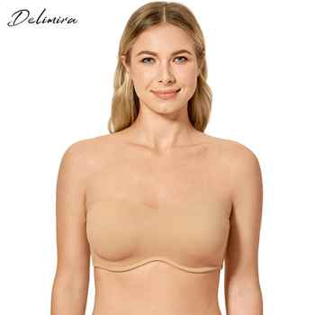 Delimira Women\'s Plus Size Smooth Seamless Invisible Full Coverage Underwire Minimizer Strapless Bra - DISCOUNT ITEM  15 OFF Underwear & Sleepwears