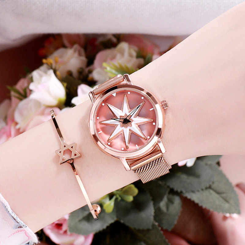 2019 Women s Rose Gold Lucky Watch Rotating Magnet Star Dial Watch Fashion Ladies Crystal Quartz