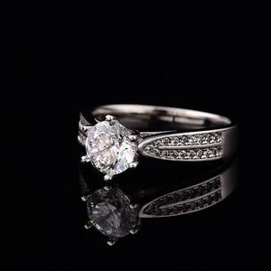 Image 2 - Geoki geçti elmas Test Moissanite 925 ayar gümüş yıldız Starlight kraliçe yüzük yuvarlak mükemmel kesim düğün taş yüzük kadınlar için