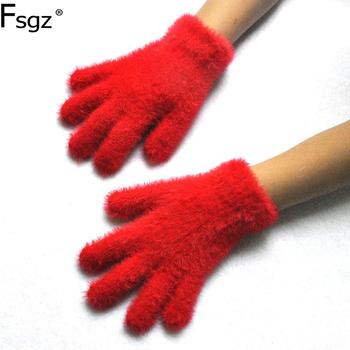 3-6 lat stare zimowe rękawiczki dla dziecka solidna imitacja norki włosy pięć palców rękawiczki przedszkole utrzymać ciepło miękka dzianina rękawica tanie i dobre opinie Dzieci Unisex Mink Hair Stałe Nadgarstek Moda QS25 Winter Gloves Imitation Mink Hair knitting Black White Gray Rose Red Navy