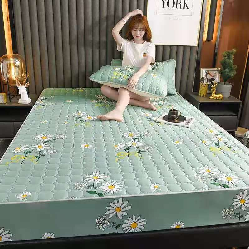 Soft Sanding Quilted Mattress Cover King Double Size Customized Antibacterial All-inclusive Bed Cover Not Including Pillowcase