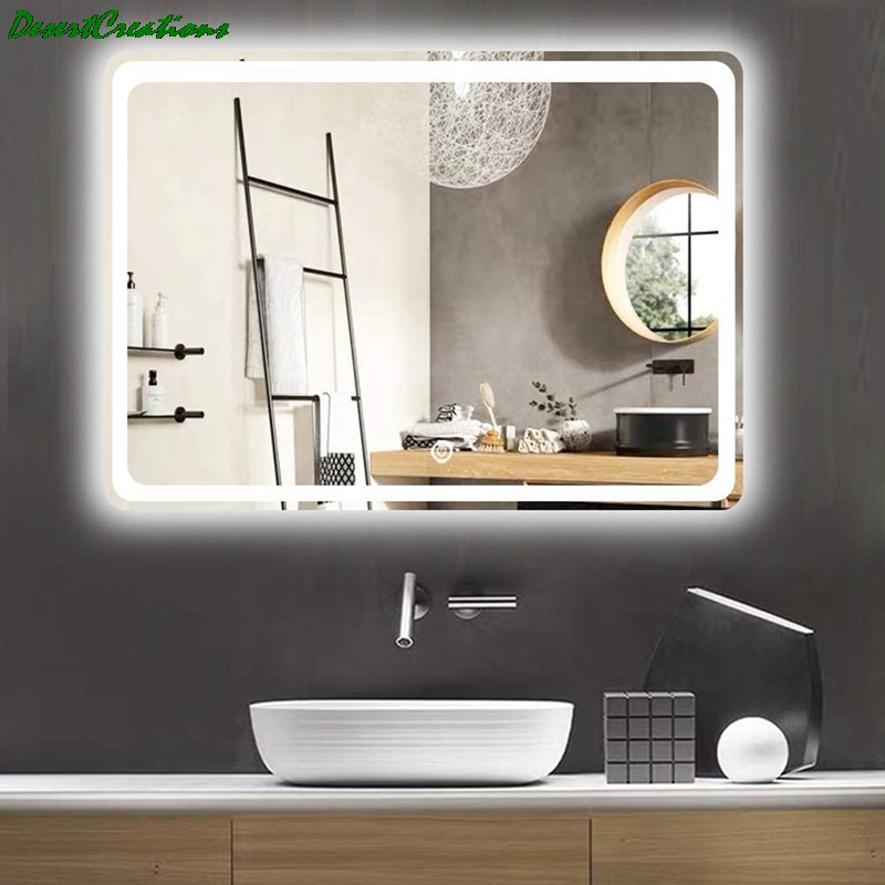 "32""x24""Bathroom Mirror With Led Lights Makeup Vanity Wall-Mounted Horizontally Rectangular Frameless Wall Mirror 1"