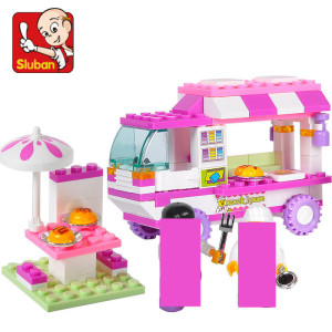 102Pcs City Old Vans Snack House Car Building Blocks Sets Girl Friends Creator Brinquedos 2 Figures Juguetes Playmobil Kids Toys(China)