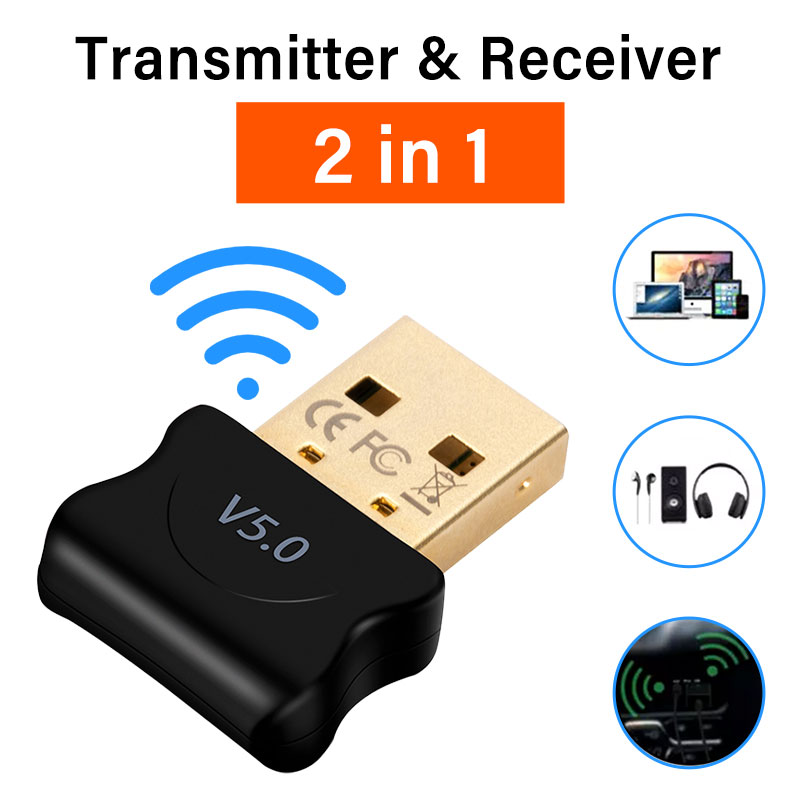 USB Bluetooth-Compatible 5.0 Adapter Transmitter Receiver Audio Dongle Wireless USB Adapter For PC Laptop Data Dongle Receiver