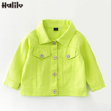 Halilo New Autumn Kids Jeans Jackets Candy Color Baby Girl C
