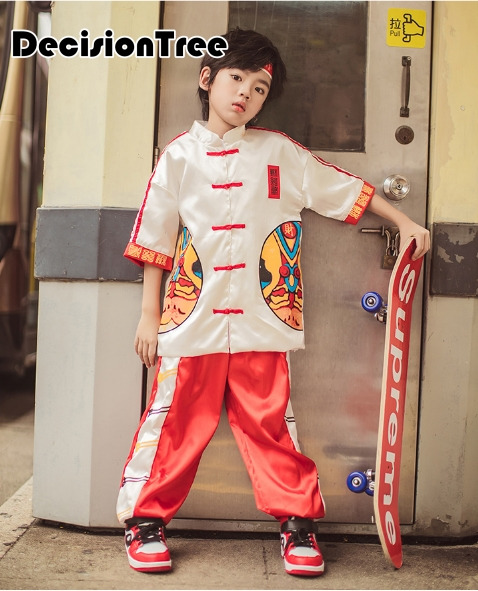 2019 Child Wushu Kids Kung Fu Performance Suit Material Art Stage Performance Costume Set Suit Traditional Print Tai Chi Uniform