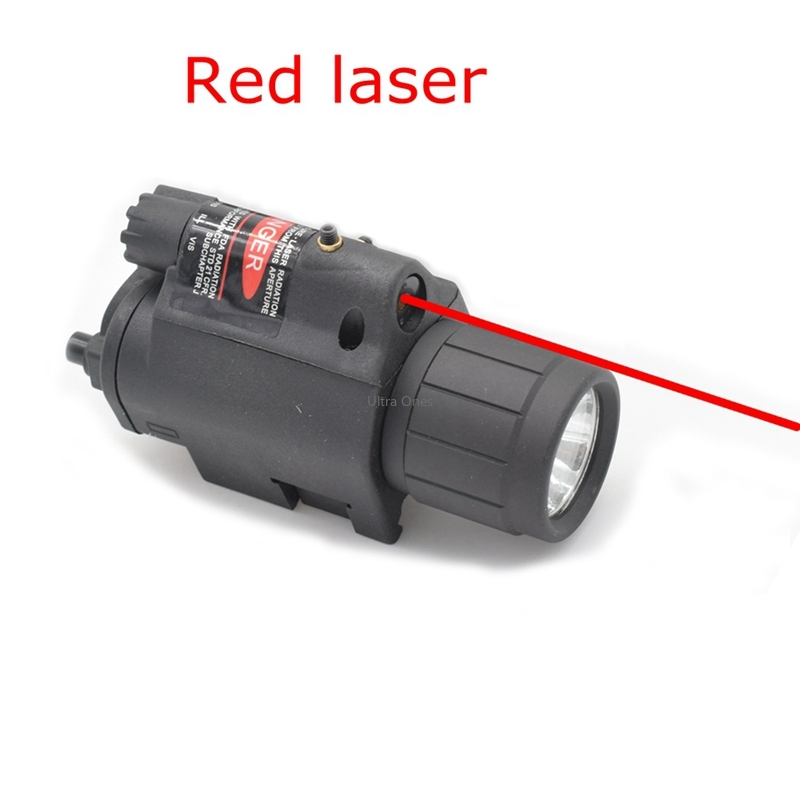 Tactical Hunting Cs LED Flashlight + Laser Sight for 20mm Rail Glock Beretta Airsoft Paintball Army Combat Pistol Gun Lights-2