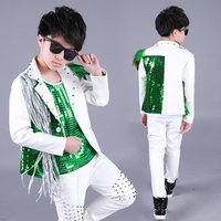 Hip Hop Costumes Kids Green Sequined Vest Silver Tassel Coat Boys Street Dance Clothes Jazz Stage Outfit Performance Wear DN4977