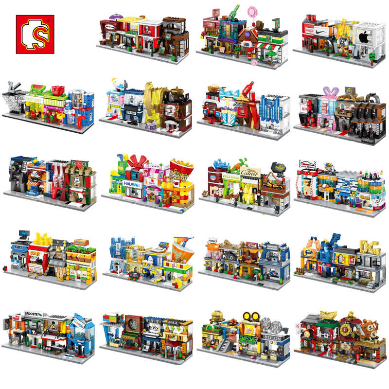 Sembo Mini City Street Coffee Pizza Hut Shop Store Restaurant China Town Set 3D Model Blocks Building Toy for Children no Box