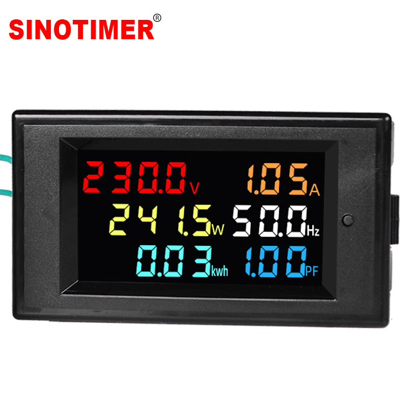 AC Power LCD Digital Voltage Current Power Voltmeter Ammeter KWH Panel Meter Electric Energy Consumption Monitors 100A 220V 380V