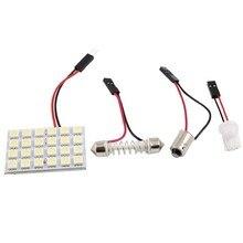 Branco 24 led painel 5050 smd cúpula luz lâmpada + t10 ba9s festão adaptador