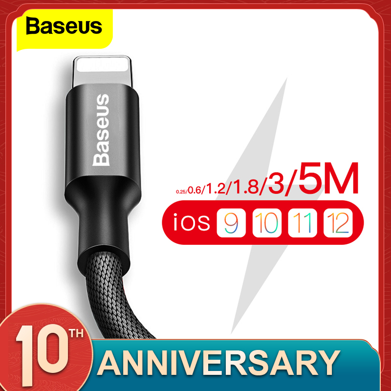 Baseus USB Cable For iPhone 11 Pro Max X XR XS 8 7 6 6s 5 5s iPad Fast Data Charging Charger USB Wire Cord Mobile Phone Cables