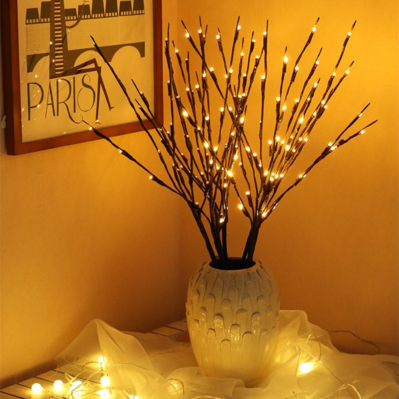 XYXP 20 Bulbs LED Willow Branch Lamp Battery Powered Natural Tall Vase Filler Willow Twig Lighted Branch For Home Decoration