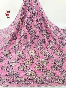 Sequence African velvet lace fabric glitter embroidered french mesh sequins lace high quality Nigerian Swiss tulle lace fabrics