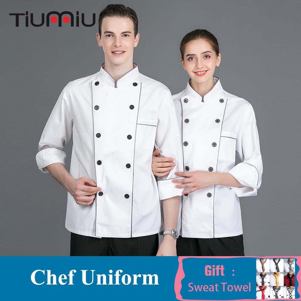 Unisex Chef White Uniform Long Sleeve Cooking Jacket Coat Food Service Restaurant Kitchen Sushi Pastry Workwear High Quality