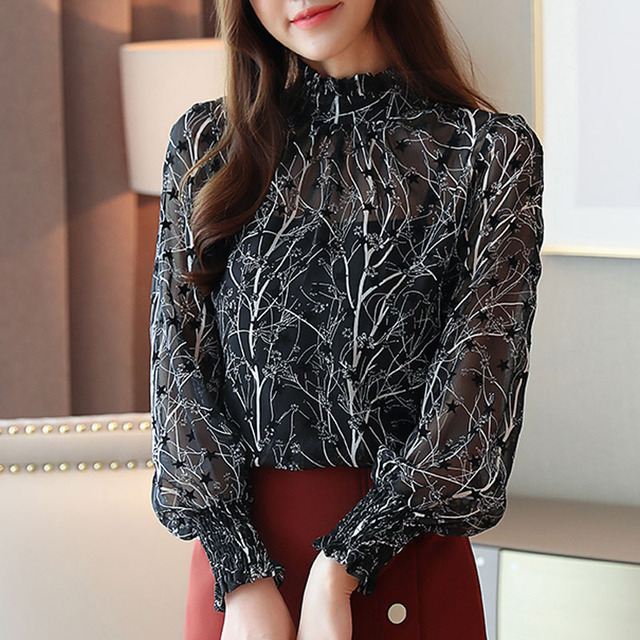 2019 Autumn Fashion Women Chiffon Blouses Casual Stand Collar Floral Women Clothing Long Sleeve Printed shirt Women Tops 6197 50 8