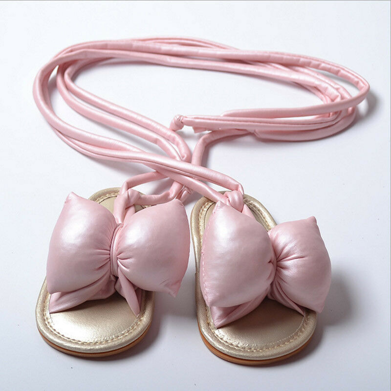 0-18M Newborn Infant Baby Girl Soft Sole Sandals Toddler Shoes Super Bowknot Lace-up Sandals