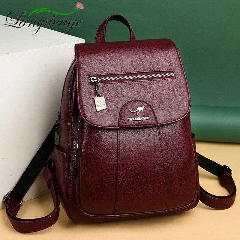 2019 mochilas de cuero para mujer de alta calidad para mujer mochila Vintage para niñas bolsa de viaje mochila para señoras saco A Dos mochila trasera