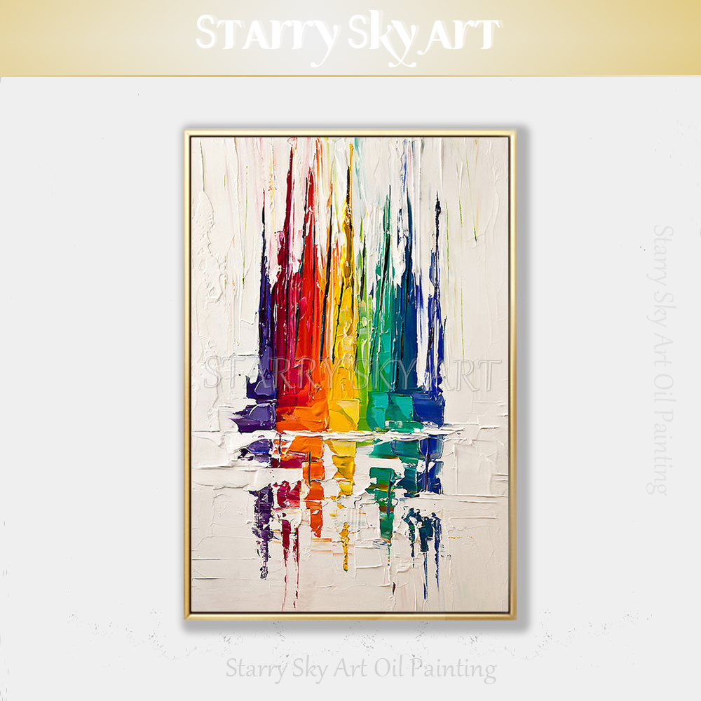 Pure Hand-painted High Quality <font><b>Knife</b></font> Painting Abstract Colorful <font><b>Boats</b></font> Acrylic Painting Rich Colors <font><b>Boats</b></font> Acrylic <font><b>Knife</b></font> Painting image