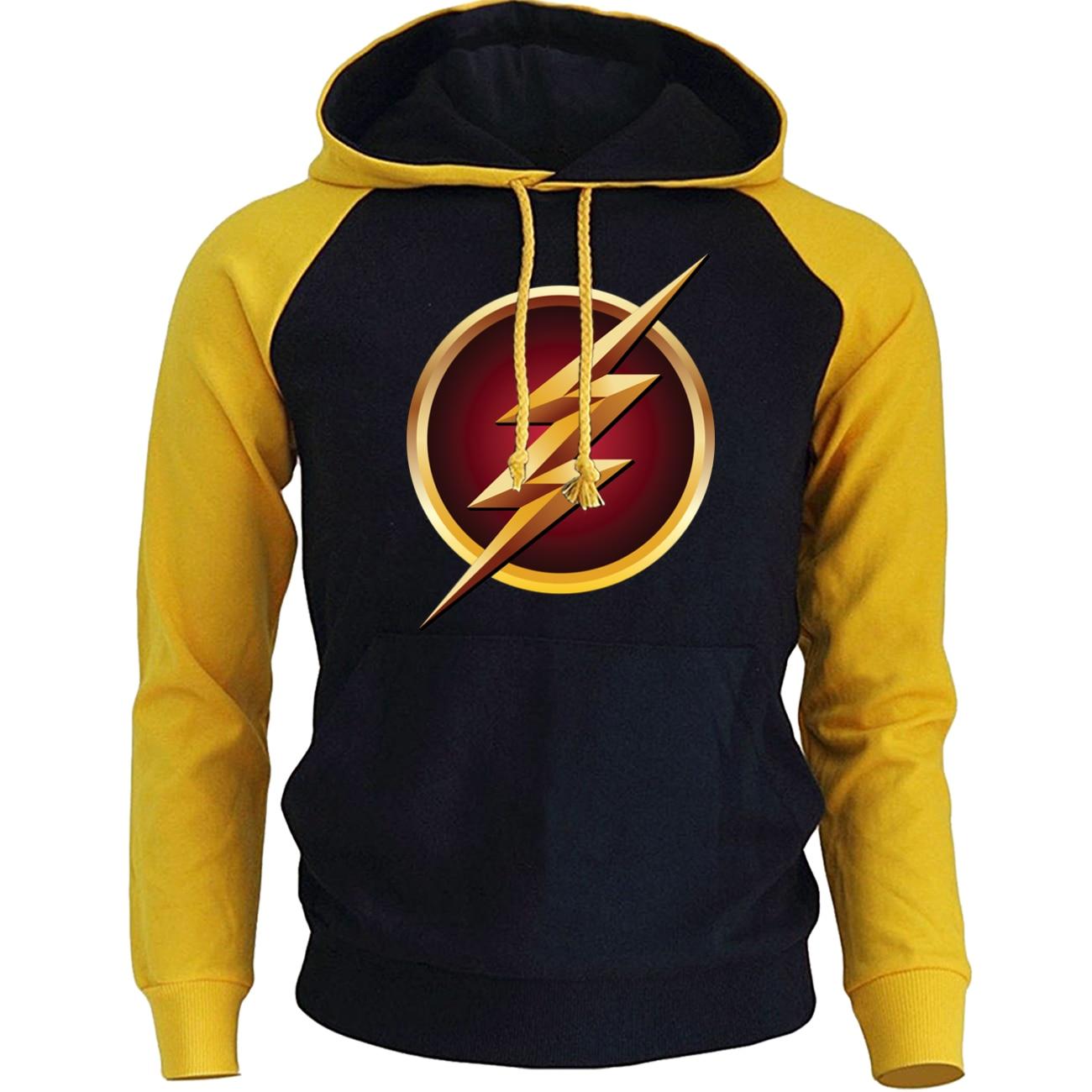 The Flash Man Hoodies Raglan Men Streetwear Hip Hop Casual Hooded Spring Winter Male Fleece Pullover Funny Print Sweatshirts