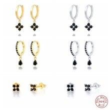 Boucles d'oreilles en Zircon noir brillant pour femme, bijoux fins, en argent Sterling 100%, pendentif en forme de cerceau, cadeau de fête de fiançailles, breloque, 925