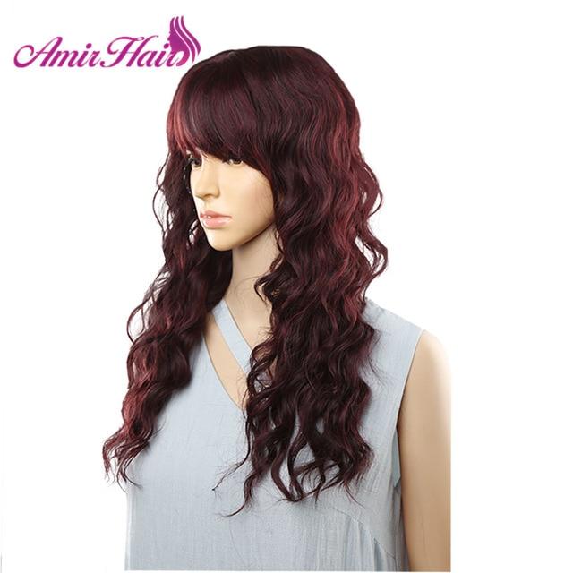 Długie naturalne fale peruki dla kobiet czarny brązowy Ombre blond peruka z grzywką Bob syntetyczne peruki do włosów Peruca Cosplay i imprezowa peruka
