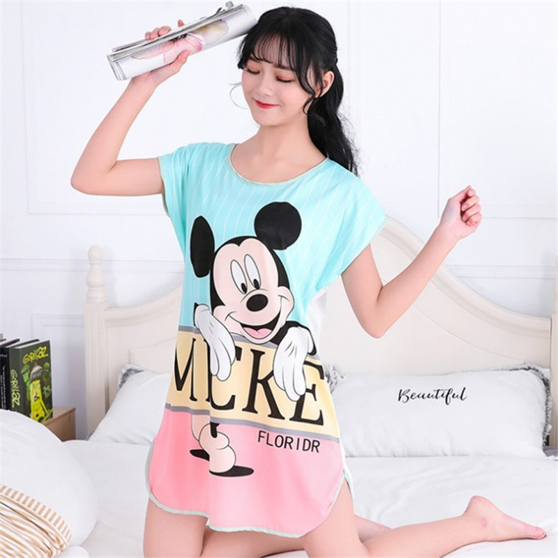 Womens Nightgown Mickey Loose Sleep Dress Women Cartoon Round Neck Girls Cute SpongeBo plus Size Sleepwear(China)