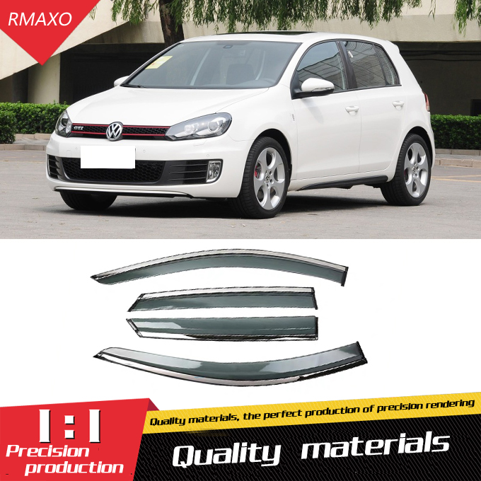 For Volkswagen Golf 6 /MK 6 GTI 2010-2013 Plastic Window Visor  Vent Shades Sun Rain Deflector Guard 4PCS/SET