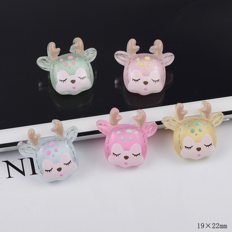 Resin Cute Crytal Shining Deer For Fluffy Slime Charms DIY Filler Addition All For Slimes Modeling Clay Supplies Kit For Kids