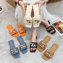 Summer 2021 New Web Celebrity Flip-Flops For Women To Wear Fashion Metal Buckle Vintage Instagram Trend